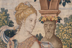 Detail of Pomona from Story of Vertumnus and Pomona: Vertumnus appears to Pomona in the guise of a Herdsman. Design attributed to Pieter Coecke van Aelst, ca. 1544, tapestry woven under the direction of Willem de Pannemaker, Brussels, sometime between ca. 1548 and 1575.