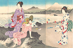 Utagawa Kokunimasa (Japanese, 1874–1944) | Swimming at Ōiso, Distant Views of Mount Fuji | JP3382a–c