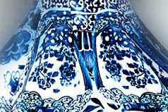 Blue and white evening dress (detail)