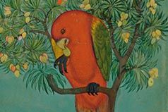 A Parrot Perched on a Mango Tree; a Ram Tethered Below