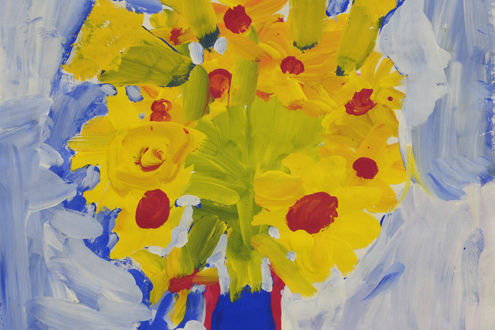 Lilybeth Jimenez (Age 6, Grade1), My Beautiful Flowers, 2015. Tempera on paper. School: P.S. 145, Brooklyn. Art Teacher: Carrie Adams