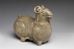 Vessel in the shape of a kneeling ram