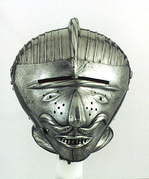 Close helmet with 'grotesque' visor
