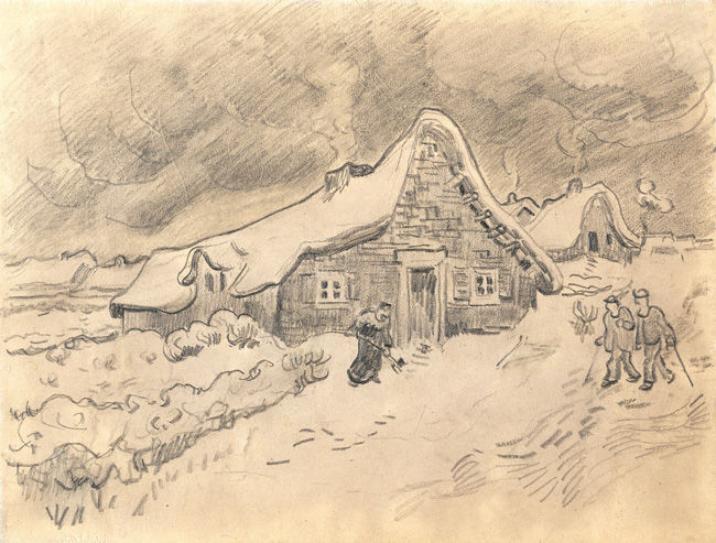 Houses in the Countryside in the Snow