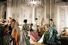 Dorian Leigh (fourth from left) and unidentified models in Charles James